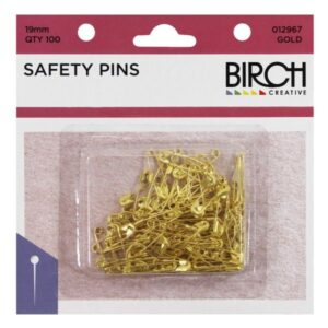 Safety Pins 19mm Gold 100pk
