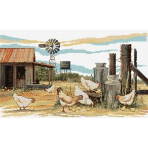 Chickens Scratching - Cross Stitch Kit by Country Threads